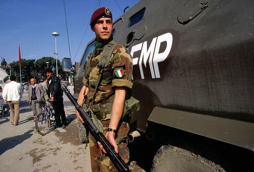 Stock Photo: 3153-678653 albania, tirana, italian military contingent of the united nations