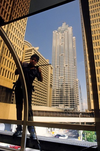 window cleaner, atlanta, georgia, U.S.A. : Stock Photo