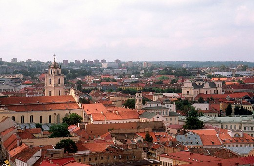 Stock Photo: 3153-683378 europe, lithuania, vilnius, old city, gediminas tower