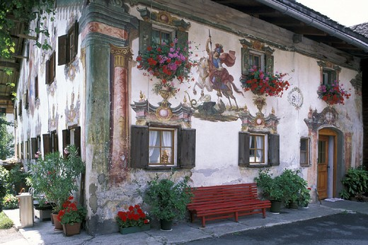 Stock Photo: 3153-684695 frescoes on house, holzgau, austria