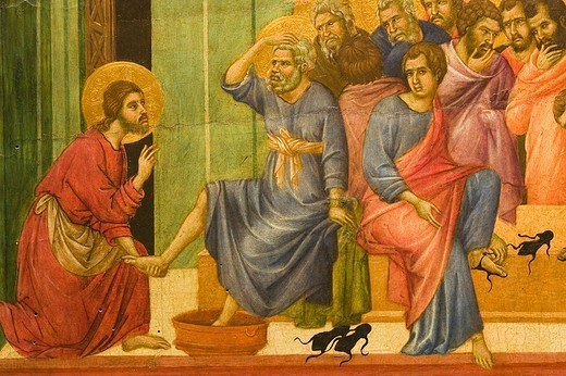 europe, italy, tuscany, siena, museum opera metropolitana, show-room dedicated to duccio di buoninsegna, tablet representing a story about christ by duccio di buoninsegna : Stock Photo