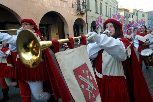 Stock Photo: 3153-686501 italy, veneto, montagnana, historical recalling
