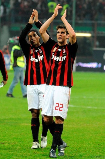 ronaldinho and kakà,italian soccer championship 2007_2008, serie a ,photo will benson/markanews : Stock Photo