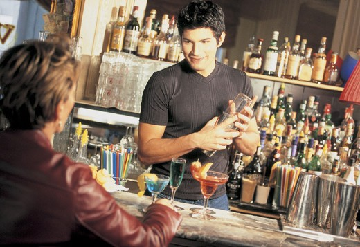 barman, customer : Stock Photo