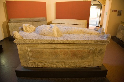 europe, italy, lazio, tarquinia, vitelleschi palace, national museum, sarcophagus of larth alvethnas, second half of the IV century : Stock Photo