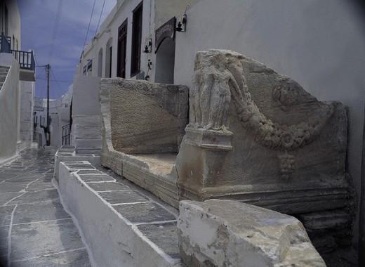 Stock Photo: 3153-695333 greece, sifnos, kastro, a roman sarcophagus