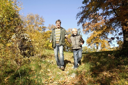 Stock Photo: 3153-695506 father and son, countryside
