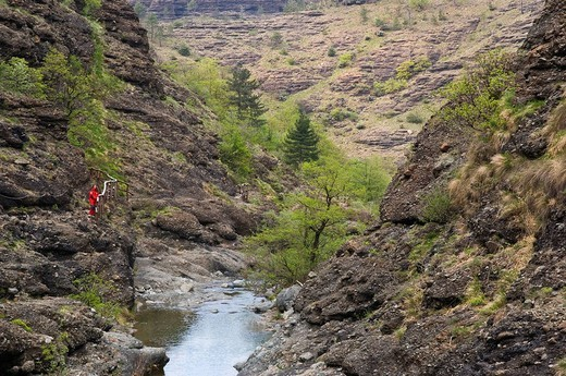 monte beigua, val gargassa, sentiero, escursionista, liguria, italy : Stock Photo