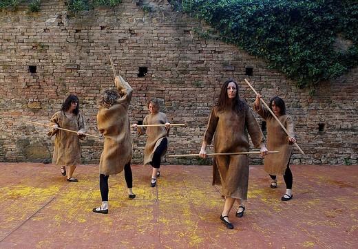 danze medievali alla rocca viscontea di castell´arquato, emilia romagna, italia : Stock Photo