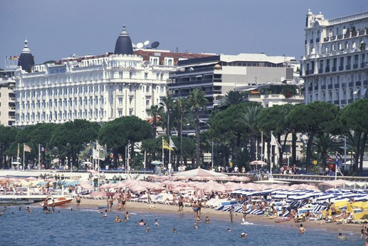 croisette and beach, cannes, france : Stock Photo