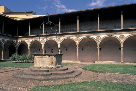 Stock Photo: 3153-699485 italy, tuscany, florence, santa croce church, cloister