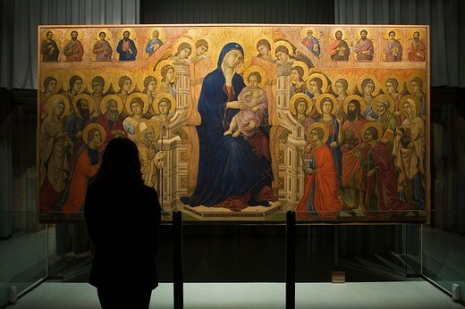 Stock Photo: 3153-701173 europe, italy, tuscany, siena, museum opera metropolitana, show-room dedicated to duccio di buoninsegna, majesty by duccio di buoninsegna