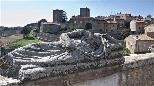 Stock Photo: 3153-701711 etrurian sarcophagus, piazza basile, tuscania, lazio, italy