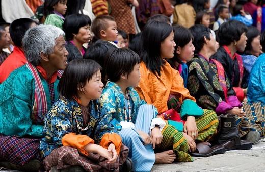 Bhutan. Thimphu. Tsechu Festival Bhuddist celebration. : Stock Photo