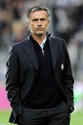 josè mourinho inter trainer,torino 2009, serie a football championship 2008_2009, juventus_inter : Stock Photo