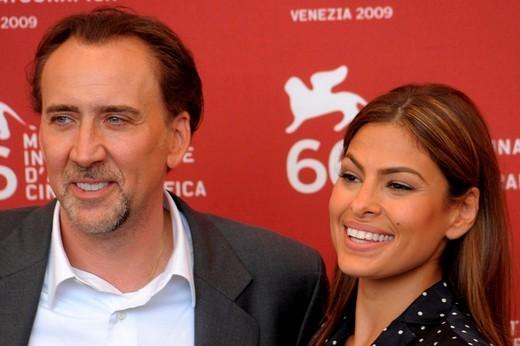 nicholas cage, eva mendes, venice 2009, 66th venice film festival : Stock Photo