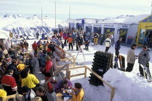 corviglia skiing slopes, st  moritz, switzerland : Stock Photo