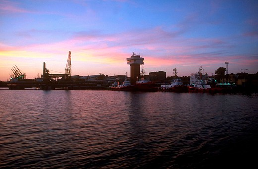 Stock Photo: 3153-702904 europe, lithuania, klaipeda, harbour at the sunset