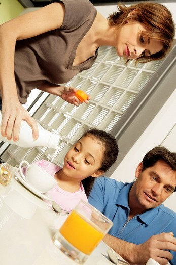 family, breakfast : Stock Photo