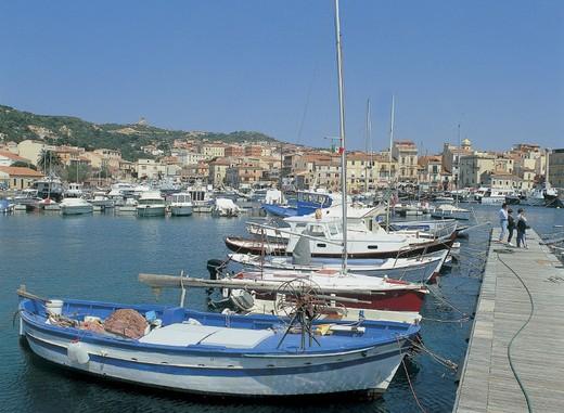 italy, piemonte, island la maddalena, maddalena, harbour : Stock Photo