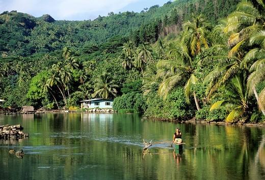Stock Photo: 3153-705289 french polynesia, society islands, huahine, lagoon of maeva