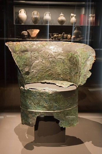 Stock Photo: 3153-705428 europe, italy, tuscany, siena, santa maria della scala, exhibition of etruscan art, collection of emilio bonci casuccini, bronze throne found in chiusi