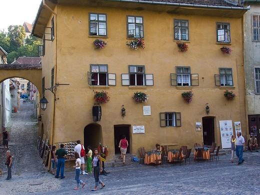 europe, romania, transylvania, sighisoara, house of drakula : Stock Photo