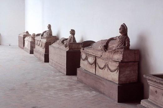 europe, italy, lazio, tarquinia, etrurian archeological museum, sarcophagus : Stock Photo