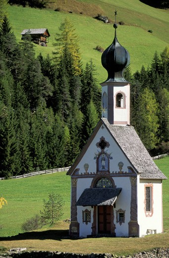 Stock Photo: 3153-712229 st. john church, funes valley, italy