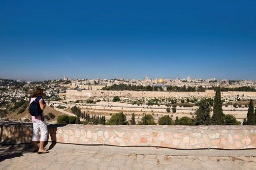 Stock Photo: 3153-713683 chiesa del dominus flevit, panorama su gerusalemme, monte degli ulivi, gerusalemme, israele