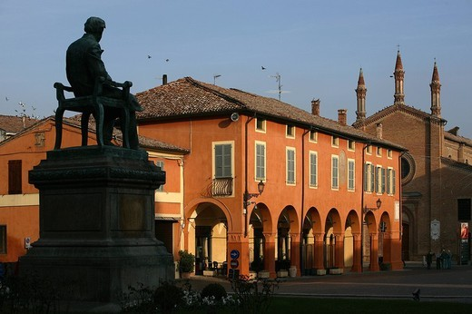 piazza giuseppe verdi, busseto, emilia romagna, italia : Stock Photo