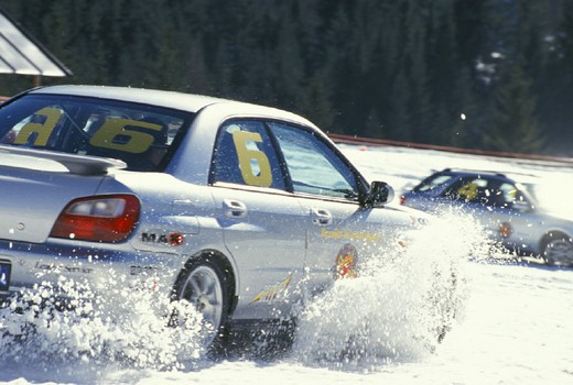 driving school on snow, sappada, italy : Stock Photo