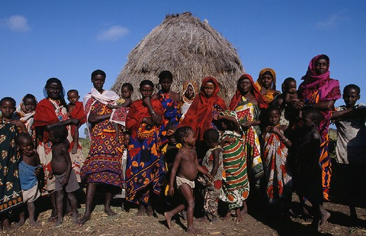 africa, kenya, tana delta lodge area, daga gage village, orma tribe : Stock Photo