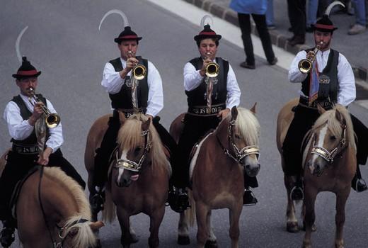 italy, trentino alto adige, alpe di siusi, masquerade parade, oswald von wolkenstein riding : Stock Photo