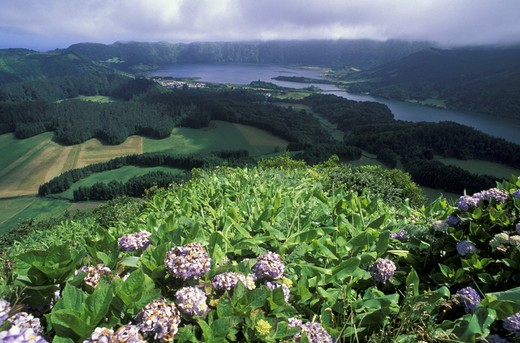 sete cidades:lakes, sao miguel, portugal : Stock Photo