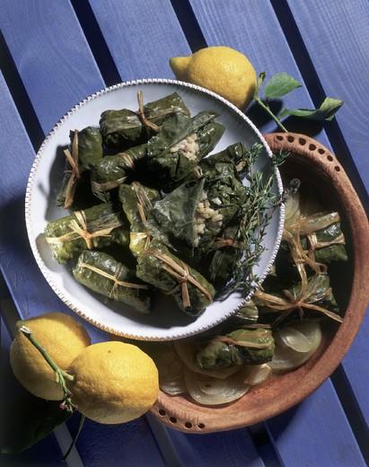 international cuisine, vine leaves rolls : Stock Photo