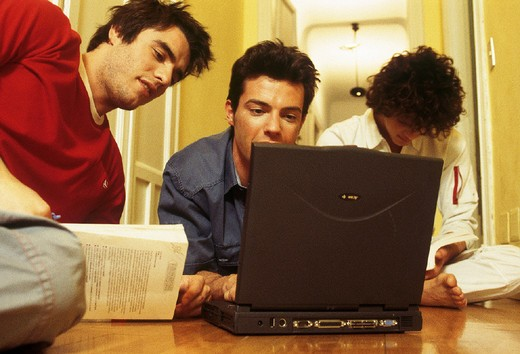 young man, computer, inside : Stock Photo