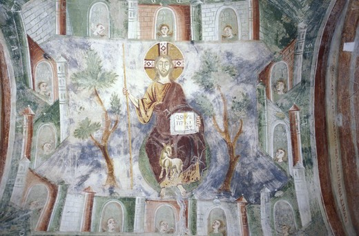 frescoes san pietro al monte abbey, civate, italy : Stock Photo