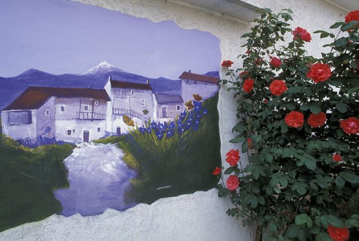 murales on house, bordano, italy : Stock Photo