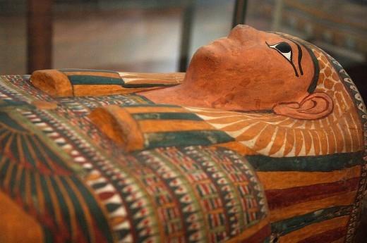 europe, italy, piedmont, turin, museo egizio, sarcophagus : Stock Photo