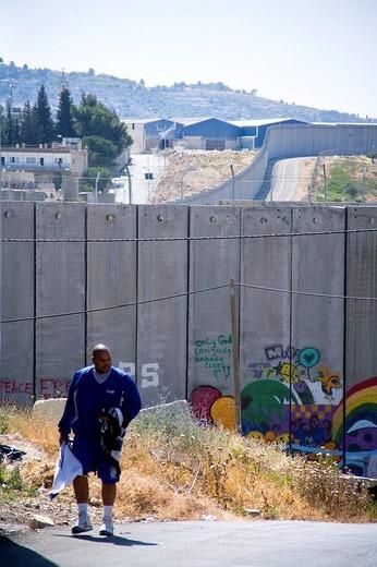 muro che circonda betlemme, palestina, medio oriente, asia : Stock Photo