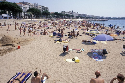 Stock Photo: 3153-719903 croisette and beach, cannes, france