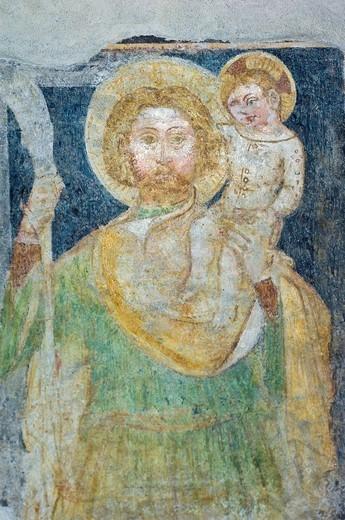 st. sebastian church: frescoes, nembro, italy : Stock Photo