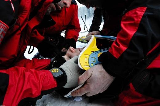 mountain rescue on ski : Stock Photo