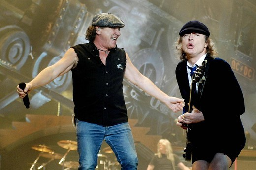 Stock Photo: 3153-725173 brian johnson, angus young, milano 2009, ac/dc in concert