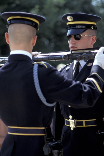 Stock Photo: 3153-725660 changing of the guard at arlington cemetery, washington d.c., usa
