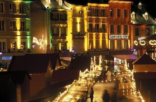 christmas market, mulhouse, france : Stock Photo
