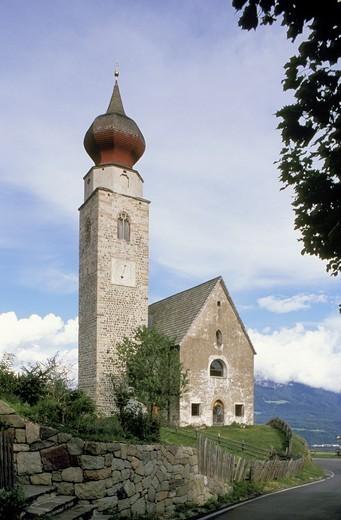saint nikolaus church, renon, italy : Stock Photo