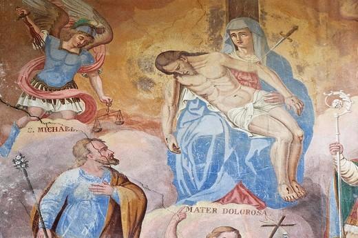 ussolo village: fresco, maira valley, italy : Stock Photo