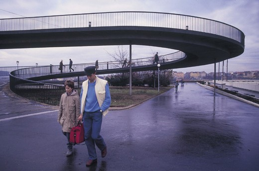 outskirts, pedestrian bridge over the speedway, prague, czech republic : Stock Photo